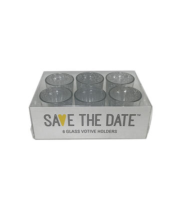 Save the Date 6 Glass Votive Holders-Silver