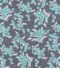 Luxe Flannel Fabric 42\u0022-Mint Vines Gray Heather