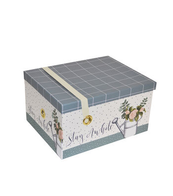 Extra Large Steamer Storage Box with Elastic Strap-Garden Plaid