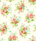 Premium Cotton Fabric-Cream Bouquet Flroal
