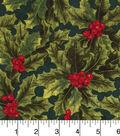 Keepsake Calico Holiday Cotton Fabric 43\u0022-Packed Hollys On Green Large