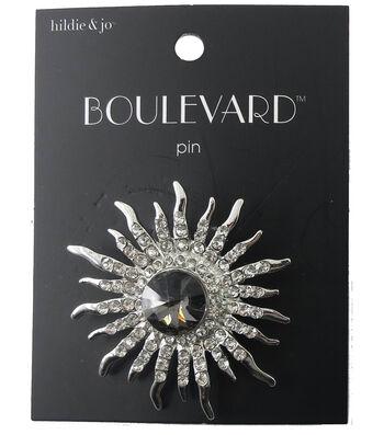 hildie & jo Boulevard Starburst Silver Pin-Dark Gold Crystal