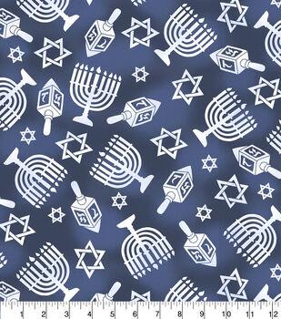 Christmas Cotton Fabric-Hannukah Icons