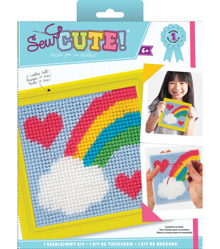 8a3cfbea0 Quincrafts Learn To Sew Needlepoint Kit-Rainbow