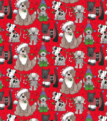 """Christmas Cotton Fabric 44""""-Holiday Pups on Red"""