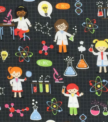 "Novelty Cotton Fabric 44""-Girl Science on Black"