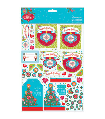 Papermania Folk Christmas A4 Decoupage Pack-Season's Greetings