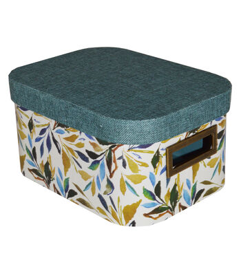 Organizing Essentials Small Oval Lidded Container-Leaves