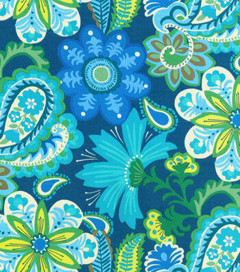 "P/K Lifestyles Outdoor Fabric 54""-Flower Child/Sapphire"