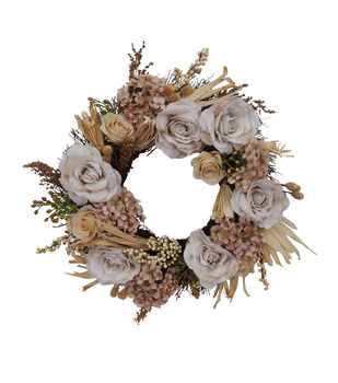 Blooming Autumn Moody Floral Wreath-Ivory