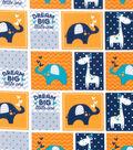 Nursery Flannel Fabric 42\u0022-Navy Dream Big Patch
