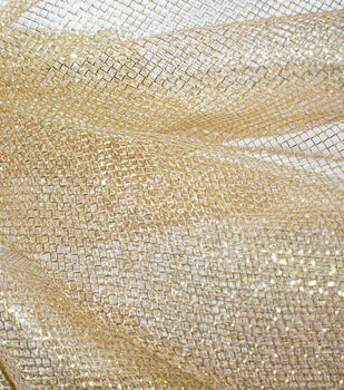 """The Witching Hour Halloween Fabric 59""""-Gold Foil Mesh"""