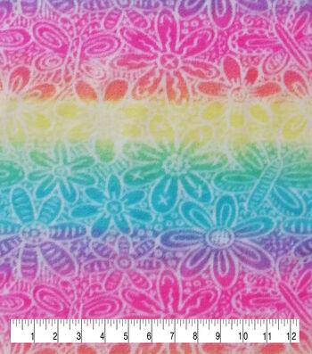 Anti-Pill Plush Fleece Fabric-Rainbow Tie Dye Floral