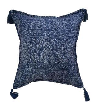 "Indigo Mist 18""x18"" Indigo Batik Pillow"