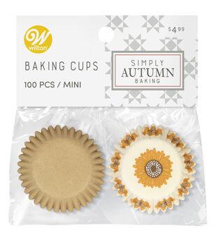 Wilton Simply Autumn Mini Baking Cups-Orange Sunflower