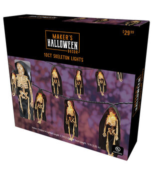 Maker's Halloween Decor 10 ct Skeleton String Lights