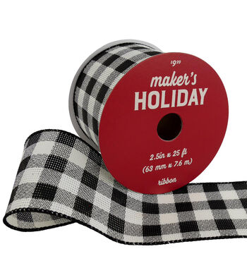 Maker's Holiday Christmas Ribbon 2.5''x25'-Black & White Buffalo Checks