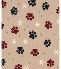 Holiday Showcase Christmas Cotton Fabric 43\u0027\u0027-Pawprints on Beige