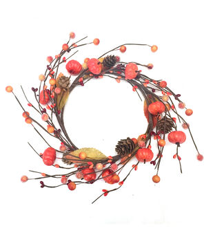 Blooming Autumn Large Pumpkin, Berry, Pinecone & Leaves Mini Wreath