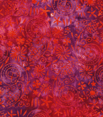 "Legacy Studio Batik Cotton Fabric 43""-Orange Pink Floral"