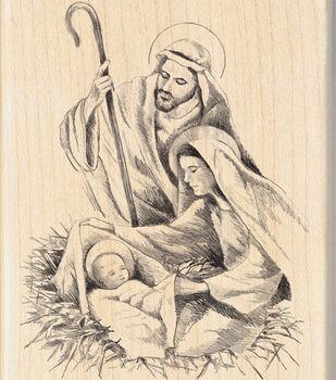 Inkadinkado 2.75''x4'' Wood Mounted Rubber Stamp-Nativity