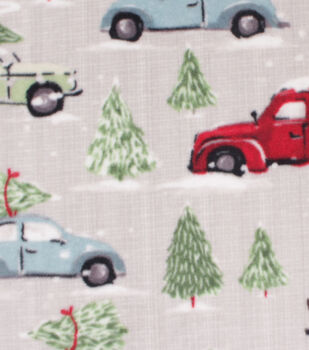 Christmas Anti-Pill Plush Fabric-Cars, Trucks & Trees