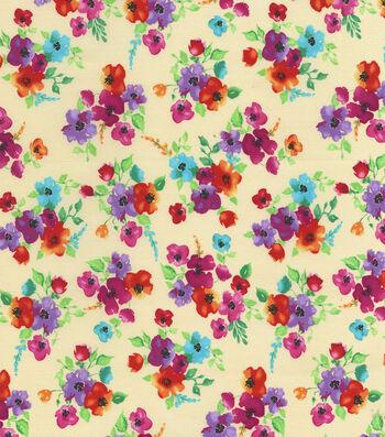 """Hi Fashion Premium Quilt Fabric 44""""-Floral Bouquet"""