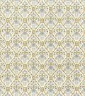 Christmas Cotton Fabric-Metallic Poinsettia Trellis
