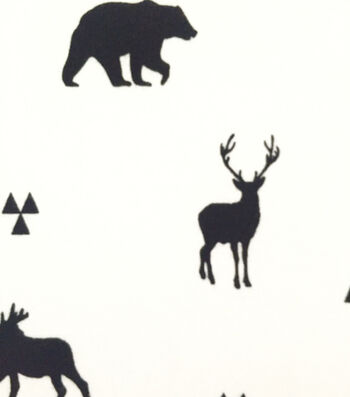 Doodles Juvenile Apparel Fabric -Bw Moose And Friends Interlock
