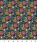 Quilter\u0027s Showcase Cotton Fabric -Modern Floral on Black