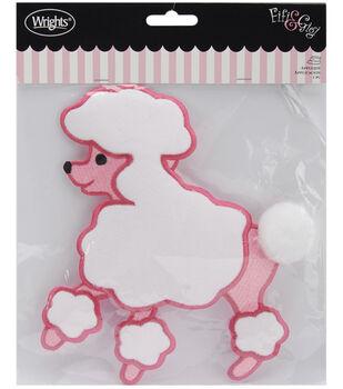 """Wrights Fifi&Gigi Iron-On Applique-Poodle 7-1/4""""x6-1/2""""-Pink & White"""