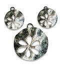 Blue Moon Beads Pendant Metal Cutout Flower Silver