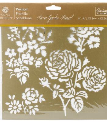 Couture Creations Anna Griffin Secret Garden 8''x8'' Stencil-Damask