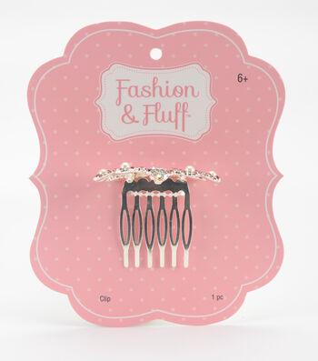 Fashion & Fluff Metal Crown Clip with Rhinestones Pink