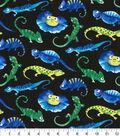 Novelty Cotton Fabric-Iguanas On Black