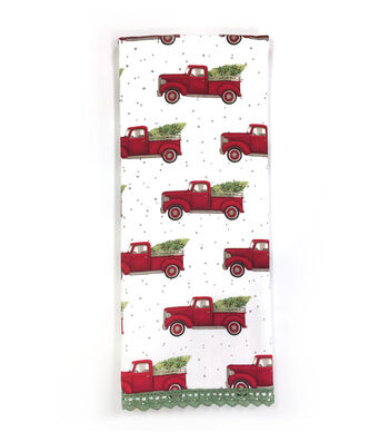 Maker's Holiday Christmas 15''x28'' Kitchen Towel-Red Trucks with Trees