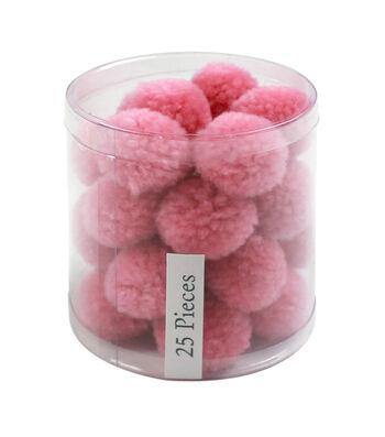 Simply Spring 25 pk 1'' Yarn Pom Poms-Light Pink