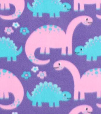 "Blizzard Fleece Fabric 59""-Girl Dinos On Purple"