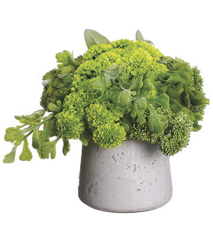 Pom Poms, Ferns & Lamb's-ear in Stoneware Container 10''-Green