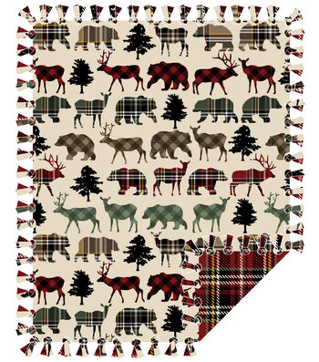 "Fleece No Sew Throw 72""-Plaid Woodland"