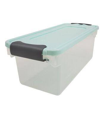 Homz 7 Quart Shoe Latch  Blue Lid Silver Latch Storage Container