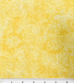Keepsake Calico Cotton Fabric -Sundrenched Dragonfly on Yellow