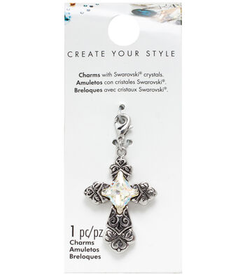 Swarovski Ornate Cross Charm