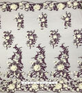 Embroidered Mesh 3D Fabric 56\u0022-Floral Blackberry Wine
