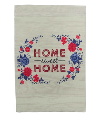 Americana Patriotic 12''x18'' Flag-Home Sweet Home & Floral