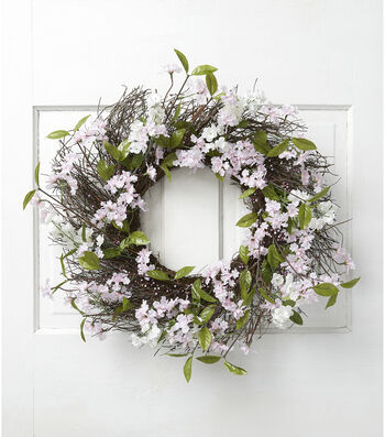 Fresh Picked Spring 24'' Blossom, Berry & Twig Wreath-Pink