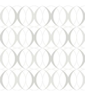 WallPops NuWallpaper Light Silver Circulate Peel  & Stick Wallpaper