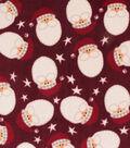 Anti-Pill Plush Fleece Fabric-Santa Faces Holiday