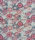 Anti-Pill Plush Fleece Fabric-Blush Gray Floral