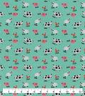 Snuggle Flannel Fabric-Farm Animals on Aqua